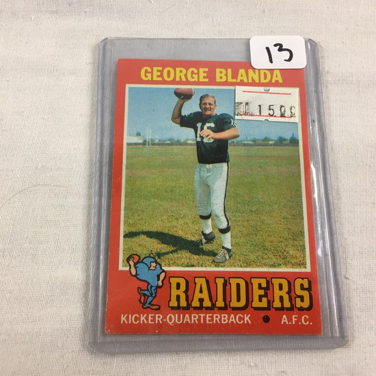 Collector Vintage 1970 T.C.G. Sport Football Card George Blanda #39 Raiders A.F.C Sport Card