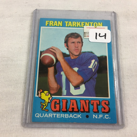 Collector Vintage 1970 T.C.G. Sport Football Card Fran Tarkenton  #120 Giants N.F.C. Sport Trading C