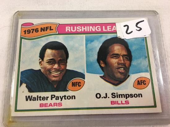 Collector Vintage 1977 T.C.G. Sport Football Card Walter & O.J.  Rusnih Leaders #3  NFC & AFC Sport