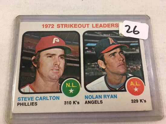 Collector Vintage 1972 T.C.G. Sport Baseball Card Strikeout Leaders Steve Carlton & Nolan Ryan Sport