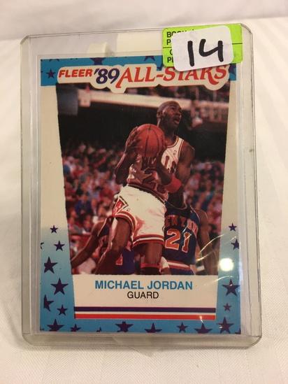 Collector Vintage 1989 FLEER MICHAEL JORDAN BASKETBALL STICKER #3 All-Stars Sport NBA Card