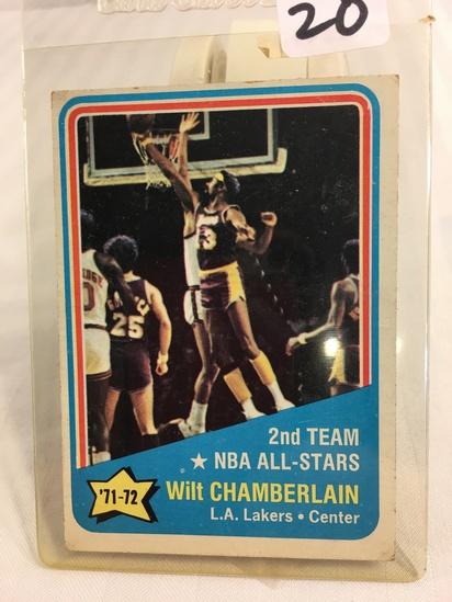 Collector Vintage 1972-73 Topps Basketball Wilt Chamberlain All Pro card #168 NBA Sport Card