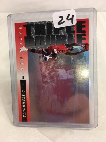 Collector Michael Jordan Bulls 1993 - 1994 Upper Deck TRIPLE DOUBLE 3D TD#2 Basketball Sport Card