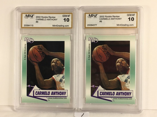 Lot of 2 Pieces Mint Graded 2002 Rookie Preview Carmelo Anthony #8 GEM MT 10 Basketball Cards