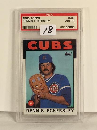 Collector PSA Graded 1986 Vintage Topps Dennis Eckersley #538 Mint 9 #08130888 Baseball Card