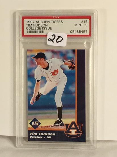 Collector PSA Graded 1997 Auburn Tigers Tim Hudson #15 College Issue Mint 9 PSA #05485457 Card