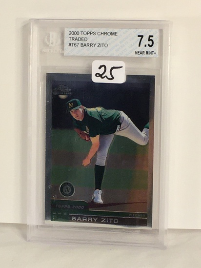 Collector Beckett Graded 2000 Topps Chrome Traded #T67 Barry Zito Nera Mint + 7.5 Card 0001107086