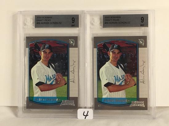 Lot of 2 Pieces Beckett Graded 2000 Bowman Draft Picks #86 Adrian Gonzalez Mint 9 Baseball Cards