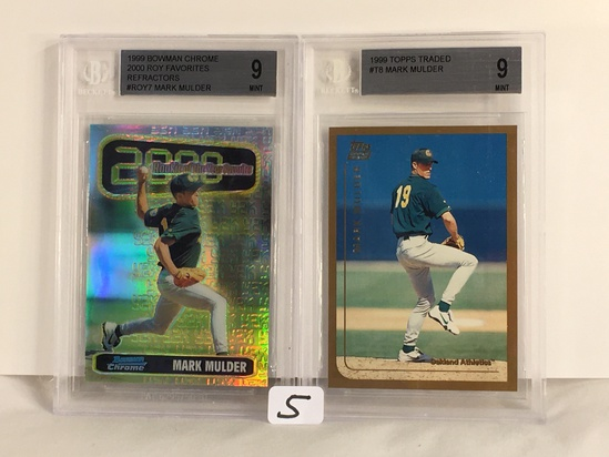 Lot of 2 Pieces Beckett Graded 1999 Bowman Chrome & Topps Traded #T8, #ROY7 Mark Mulder 9 Mint