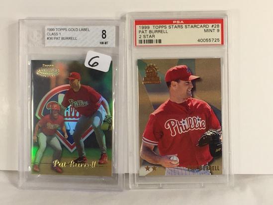Lot of 2 Pcs Beckett & PSA Graded 1999 Topps Star Gold Label Pat Burrell #28 #36 Baseball 8 Mint & 9