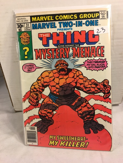 Collector Vintage Marvel Two-In-One  The Thing and Mystery Menace Comic Book No.31
