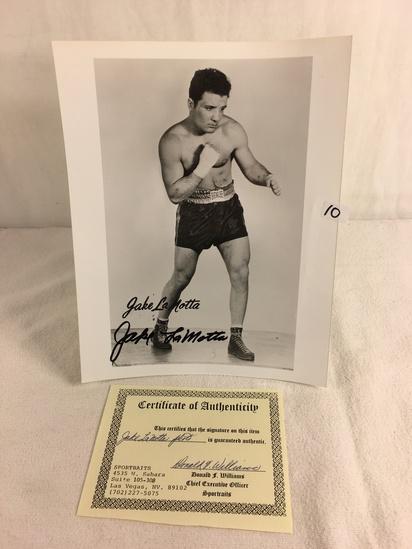"Collector Sport Boxing Photo Autographed by Jake La Motta 8X10"" w/ COA"