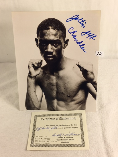 """Collector Sport Boxing Photo Autographed by Jeff Chandler 8X10"""" w/ COA"""