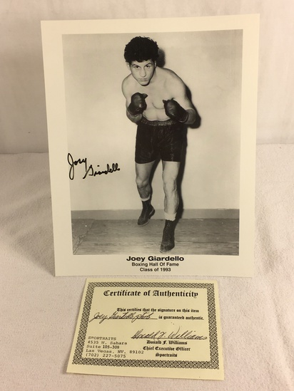 """Collector Sport Boxing Photo Autographed by Joey Giardello 8X10"""" w/ COA"""