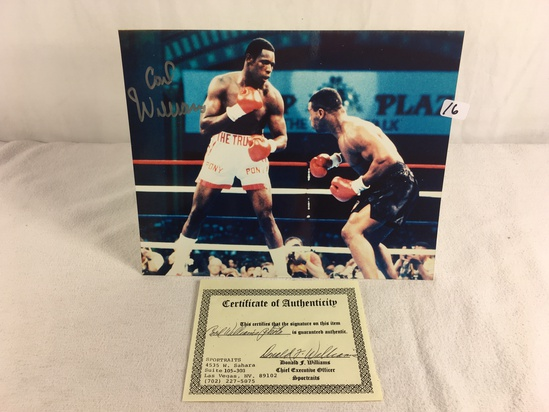 """Collector Sport Boxing Photo Autographed by Carl Williams 8X10"""" w/ COA"""