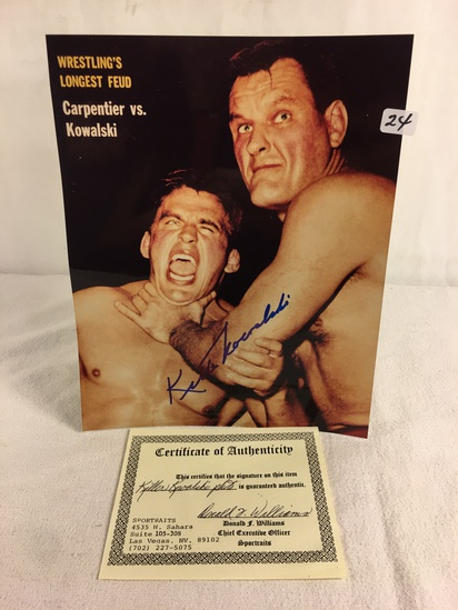 """Collector Sport Boxing Photo Autographed by Killer Kowalski 8X10"""" w/ COA"""