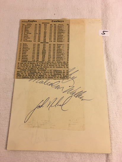 Vintage Collector Sport Papers w/ Autographs from Eagle and Cowboy Players - See Pics