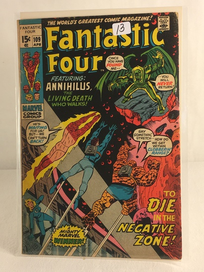 Collector Vintage Marvel Comics Fantastic Four Comic Book No.109