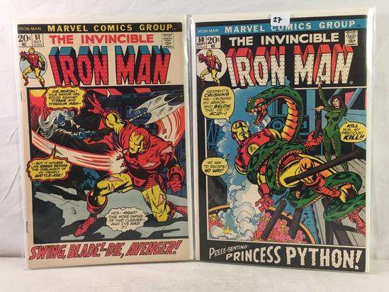 Lot of 2 Pcs Collector Vintage Marvel Comics The Invincible IRON MAN Comic Bk No.50.51