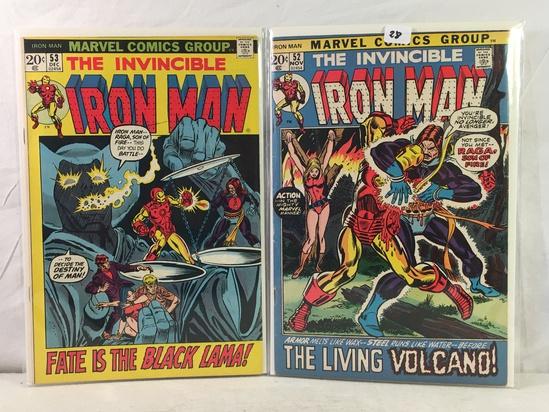Lot of 2 Pcs Collector Vintage Marvel Comics The Invincible IRON MAN Comic Bk No.52.53