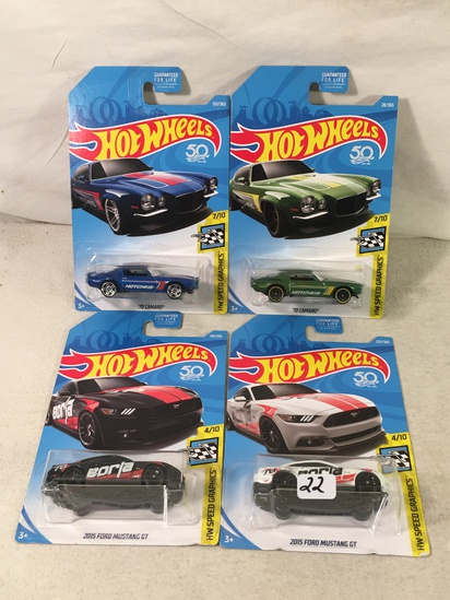 Lot Of 4 Pcs Collector  NIP Hotwheels Assorted Designs 1:64 Scale Die Cast Cars - See Pictures