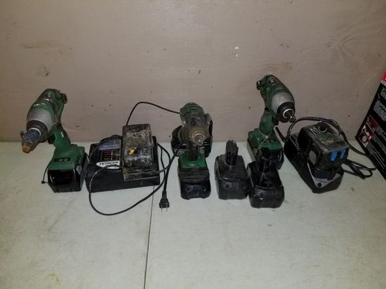 HITACHI DRILLS (3), CHARGERS (2), AND BATTERIES (5)