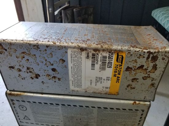 BOX OF WELDING RODS , ESAB ATOM ARC 7018-M 5/32