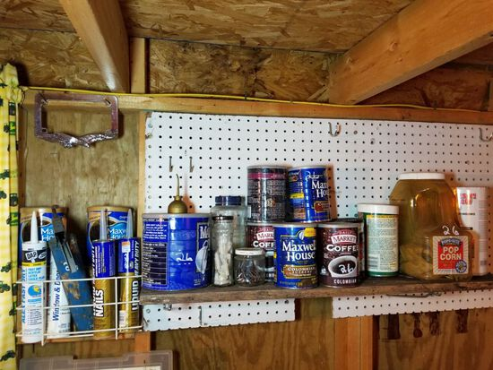 APPROX 13 CANS OF ASSORTED NAILS, SCREWS, ETC AND 4 TUBES OF CAULK AND 1 CA