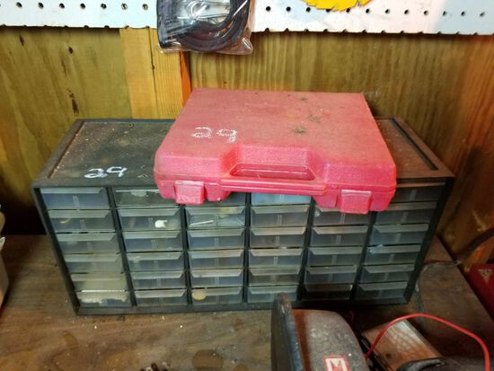 DRILL BIT SET AND ORGANIZER W/ CONTENT OF NAILS, STAPLES, BOLTS, AND MORE