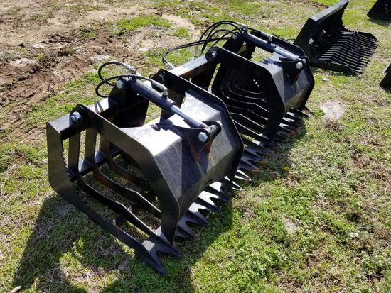 """74"""" UNUSED QUICK ATTACH DOUBLE CYLINDER GRAPPLE BUCKET"""