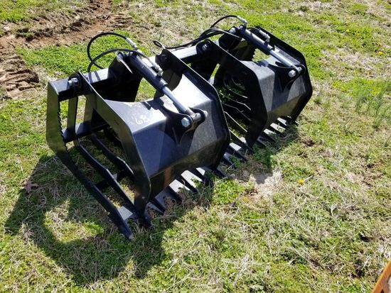 """66"""" UNUSED QUICK ATTACH DOUBLE CYLINDER GRAPPLE BUCKET"""