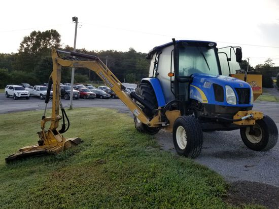NEW HOLLAND T5050 TRACTOR, CAB & AIR, WITH TIGER BENGAL 5' SIDE BOOM MOWER,