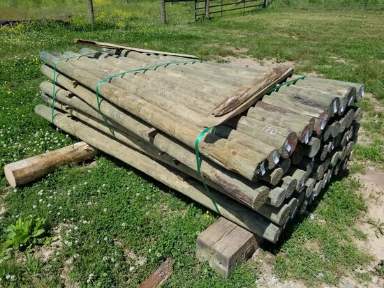 "NEW TREATED 3.5-4"" X 8' WOOD POSTS (55)"