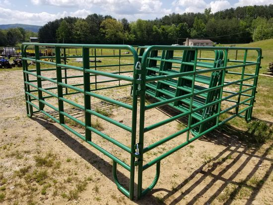 NEW 12' GREEN CORRAL PANELS, 3 BRACE, WITH PINS, 5' TALL (SET OF 10 FOR ONE