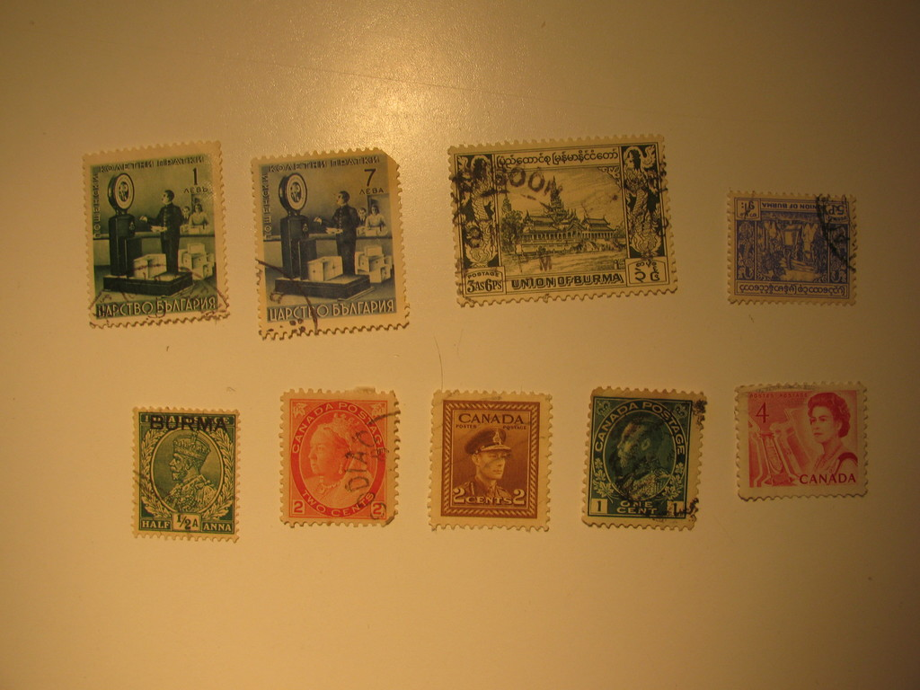 Vintage stamps set of: Bulgaria, Burma & Canada