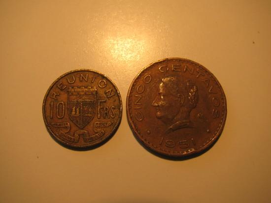 Foreign Coins:  1946 Reunion 10 Francs & 1951 Mexico 20 Centavos