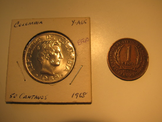 Foreign Coins: 1968 Colombia 50 Centavos & 1960 Nritish Carib. 1 Cents