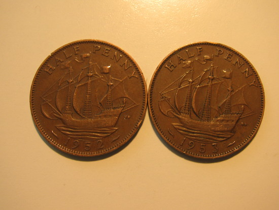 Foreign Coins: 1952 & 1953 Great Britain 1/2 Pennies