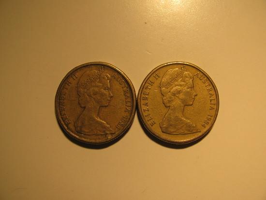 Foreign Coins:  2x1984 Australia 1 Dollars