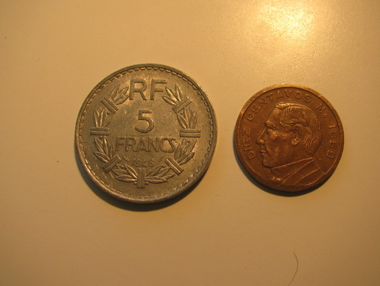 Foreign Coins:  1948 France 5 Francs & 1959 Mexico 10 Centavos