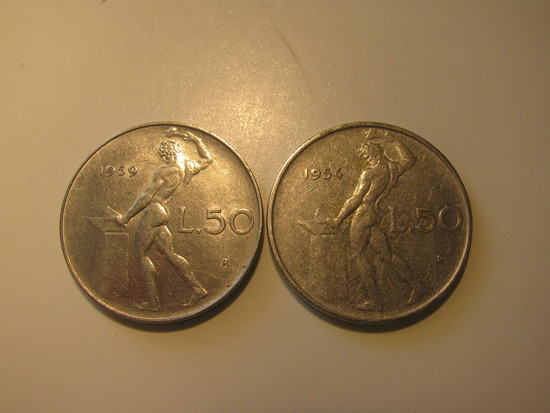 Foreign Coins:  1954 & 1959 Italy 50 Lires