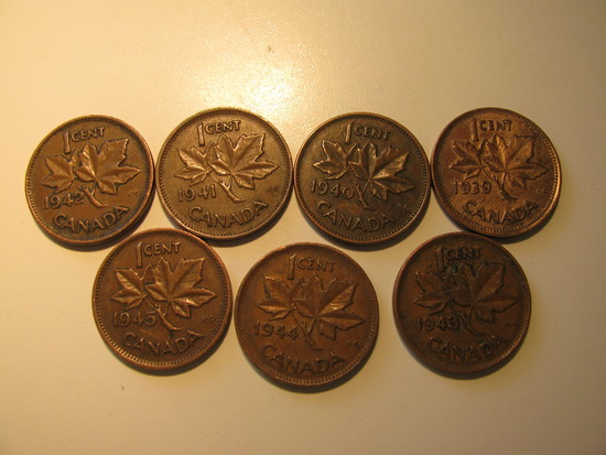 Foreign Coins:  WWII 1939 - 1945 Seven Canada 1 Cents