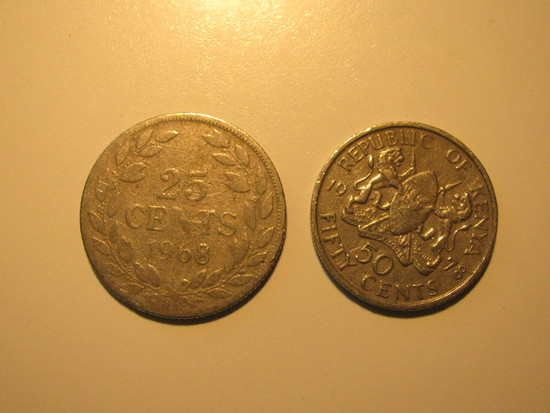 Foreign Coins:  1968 Liberia 25 Cents & 1978 Kenya 50 Cents