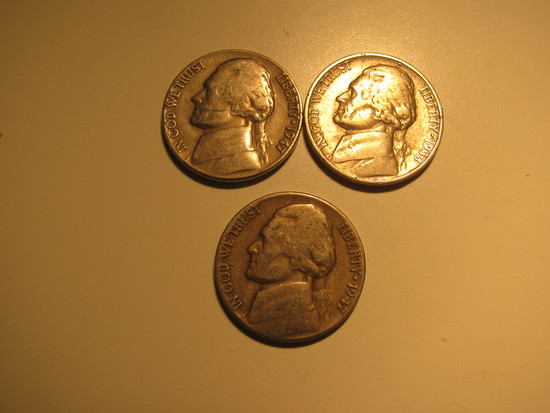 US Coins:3x1947 5 cents