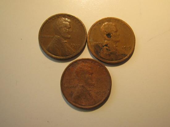 US Coins: 3x1919 Wheat pennies