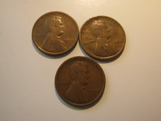 US Coins: 3x1918 Wheat pennies