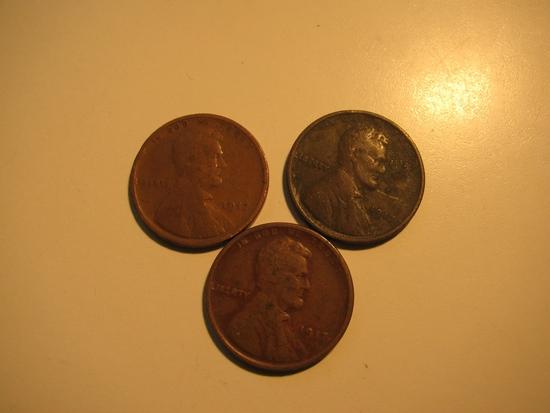 US Coins: 3x1917 Wheat pennies