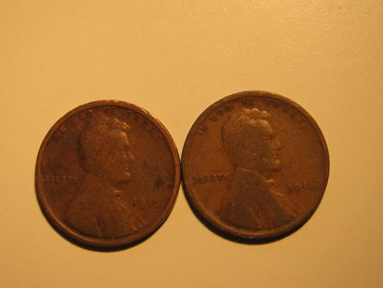 US Coins: 2x1916 Wheat pennies