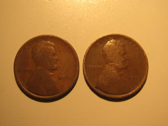 US Coins: 2x1910 Wheat pennies