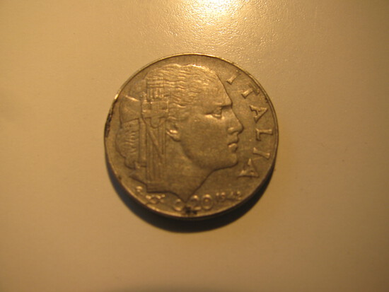 Foreign Coins:  WWII 1942 Italy 20 Centmos